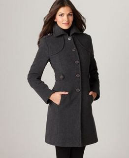 Kenneth Cole Reaction Coat, Wool Blend Button Tab Walker   Coats   Women