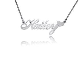 Name Necklace with Heart Double Thick Silver, Best Quality Name Necklace, Hailey W Heart Pendant Necklaces Jewelry
