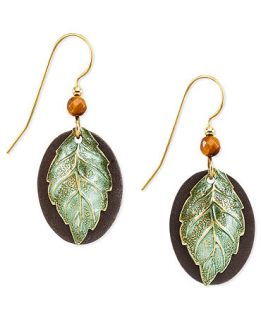 Silver Forest Earrings, Gold Tone Shimmering Leaf Drop Earrings   Fashion Jewelry   Jewelry & Watches