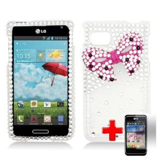 LG Optimus F3 LS720 / MS659 (Sprint/MetroPCS/T Mobile) 2 Piece Snap On Rhinestone/Diamond/Bling 3D Case Cover, Pink Bow Tie Silver/Transparent Cover + LCD Clear Screen Saver Protector Cell Phones & Accessories