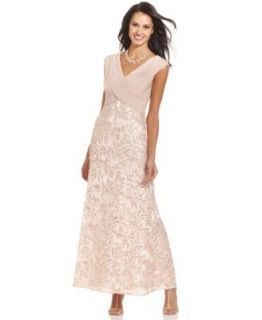 R&M Richards Sleeveless Beaded Tiered Gown   Dresses   Women