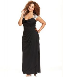 Xscape Plus Size Dress, Cap Sleeve Metallic Lace Gown   Dresses   Plus Sizes