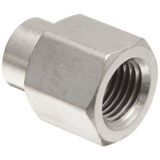 "Polyconn PC119NB 42 Nickel Plated Brass Pipe Fitting, Reducer Coupling, 1/4"" NPT Female x 1/8"" NPT Female (Pack of 10) Industrial Pipe Fittings"