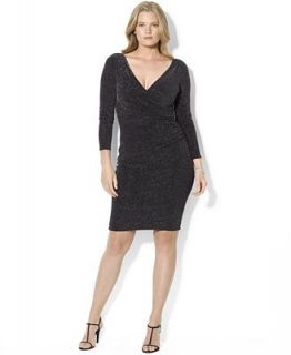 Lauren Ralph Lauren Plus Size Dress, Long Sleeve Metallic V Neck Jersey   Dresses   Plus Sizes