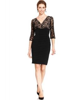 Adrianna Papell Contrast Lace Shutter Pleat Sheath   Dresses   Women