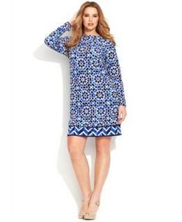 Lauren Ralph Lauren Plus Size Long Sleeve Printed Jersey Dress   Dresses   Plus Sizes