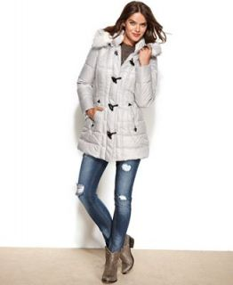 Laundry by Design Faux Fur Trim Hooded Toggle Puffer Coat   Coats   Women