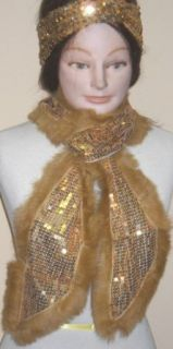 4fmg2.114, Gold Sequin Scarf Neck Warmer with Fringes Offered with Gold Sequin Head Band Fashion Scarves