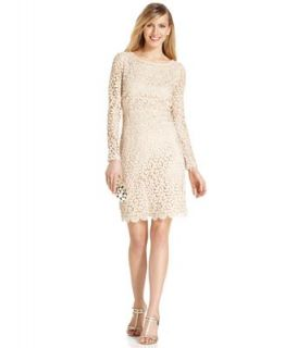 Betsy & Adam Dress, Long Sleeve Crochet Lace Open Back Sheath   Dresses   Women