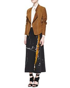 Donna Karan Asymmetric Zip Suede Jacket, Long Sleeve Blouse & Painterly Printed Midi Pull On Skirt