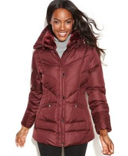 Larry Levine Hooded Faux Fur Trim Quilted Puffer Coat   Coats   Women