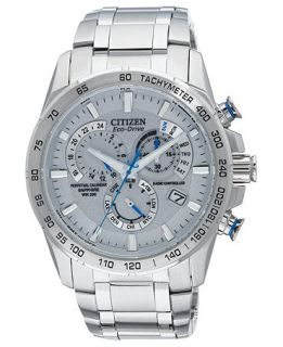 Citizen Mens Eco Drive Perpetual Chrono A T Stainless Steel Bracelet Watch 42mm AT4000 53B   A Exclusive   Watches   Jewelry & Watches