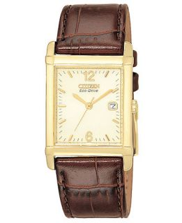 Citizen Mens Eco Drive Brown Leather Strap Watch 26mm BW0072 07P   Watches   Jewelry & Watches