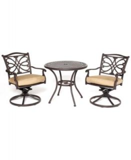 Grove Hill Outdoor 3 Piece Set 26 Square Dining Table and 2 Swivel Dining Chairs   Furniture