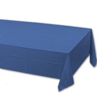 Creative Converting 71 0239B 108 Inch Length by 54 Inch Width True Blue Color Plastic Lined Table Cover (Case of 24)