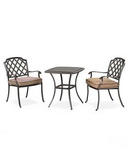 Grove Hill Outdoor 3 Piece Set 26 Square Dining Table and 2 Dining Chairs   Furniture