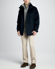 Loro Piana Icer Storm System Jacket, Cashmere Sweater Shirt, Pique Polo & Four Pocket Twill Pants