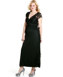 Betsy & Adam Plus Size Dress, Cap Sleeve Lace Ruched Ruffled Evening Gown   Dresses   Plus Sizes