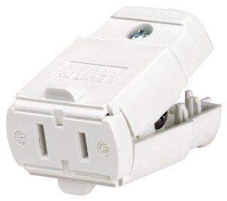 Leviton 102 WP 15 Amp, 125 Volt, Cord outlet, Polarized, Non Grounding, White   Electric Plugs