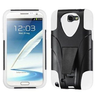MYBAT ASAMGNIIHPCSAAS102NP Advanced Armor Rugged Durable Hybrid Case with Kickstand for Samsung Galaxy Note II   1 Pack   Retail Packaging   White Cell Phones & Accessories