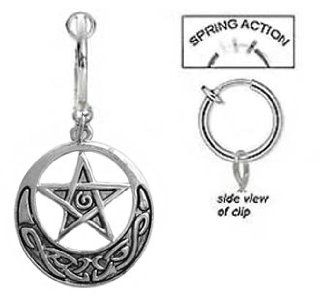 Fake Belly Navel Non Clip on Star Celtic Tribal Pentacle Wicca Wiccan witch unique Surgical Steel dangle Ring Jewelry