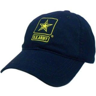 HAT CAP UNITED STATES US ARMY MILITARY STAR NAVY BLUE YELLOW GARMENT WASH VELCRO  Sports Related Merchandise  Sports & Outdoors