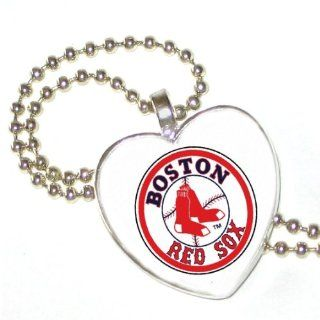 "MLB Boston Red Sox Heart on Silver Plated Pendant with 24"" Silver Plated Ball Chain Donna Bedrick Jewelry"