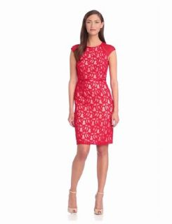 Adrianna Papell Women's Tonal Piped Lace Dress, Red, 4