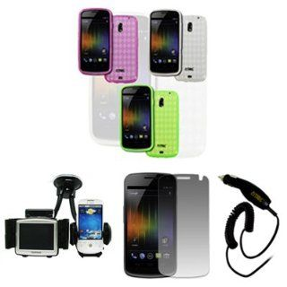 EMPIRE Samsung Galaxy Nexus I515 Pack of 3 Poly Skin Case Cover (Clear, Hot Pink, Neon Green) + Car Windshield Mounts + Screen Protector + Car Charger [EMPIRE Packaging] Cell Phones & Accessories