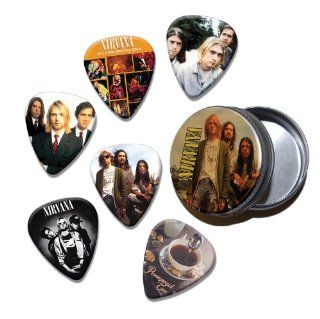 Nirvana Kurt Cobain Set of 6 Loose Guitar Picks in Tin ( Collection C ) Musical Instruments