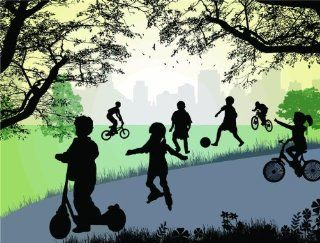 PRESCHOOL Daycare Mural Kids Playing With Ball Riding Bikes In The Park Bedroom Living Room Picture Art Graphic Design Image Vinyl Wall Decal Peel & Stick Sticker Mural Size  16 Inches X 24 Inches   22 Colors Available   Wall Decor Stickers
