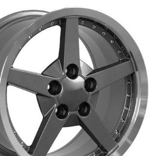 C6 Deep Dish Wheels with Rivets Fits Camaro Corvette   Gunmetal 18x8.5 Set of 4 Automotive