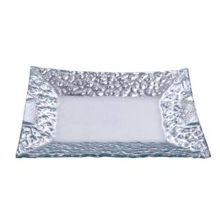 Home Essentials 7696 Cellini Rectangle Plate With Silver Border   Dinner Plates