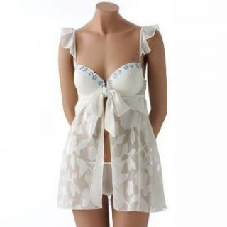 Inner Secrets Floral Jacquard Babydoll Chemise & Thong Set, Small, Ivory