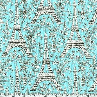 45'' Wide Michael Miller Eiffel Tower Toile Spa Turquoise Fabric By The Yard