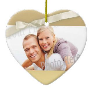 Gold Heart with Bow Photo Christmas Ornaments