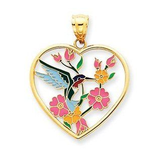 14k Gold Enameled Hummingbird w/Flowers Heart Pendant Jewelry