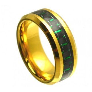Yellow Gold Plated Green & Black Carbon Fiber Inlay Beveled Edge Tungsten Carbide Ring 8MM Jewelry