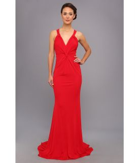 Badgley Mischka V Neck Matte Jersey Gown Womens Dress (Red)