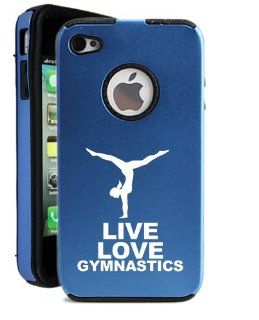 SudysAccessories Live Love Gymnastics iPhone 4 Case iPhone 4S Case   MetalTouch Blue Aluminium Shell With Silicone Inner Protective Designer Case Cell Phones & Accessories