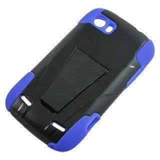 Dual Layer Cover w/ Kickstand for ZTE Grand X V970, Black/Blue Cell Phones & Accessories