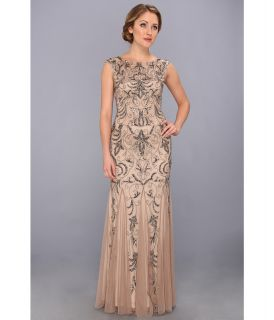 Adrianna Papell Cap Sleeve Beaded Gown Womens Dress (Tan)