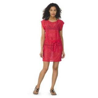 Womens Crochet Cover up Swim Dress  Coral M
