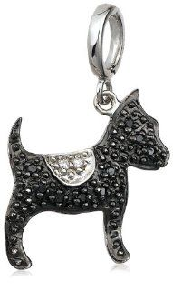 Sterling Silver Black and White Diamond Dog Charm Jewelry