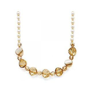 Golden Shadow Crystal & White Pearl Necklace Jewelry