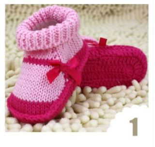 1pair Crochet Baby Toddler Shoes Baby Girl Crochet Knit Shoes 9cm Shoes