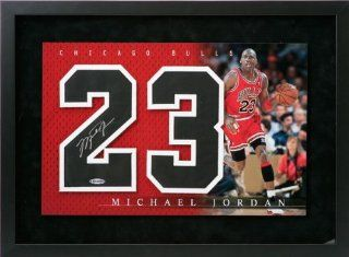 Michael Jordan Chicago Bulls Autographed Framed Jersey Numbers Piece  Sports Related Collectibles  Sports & Outdoors
