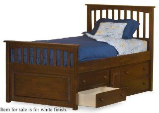 Shop Full Size Mate's Bed with Under Bed Storage Drawer Chest White Finish at the  Furniture Store