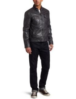 Kenneth Cole Men's Faux Leather Moto Jacket, Grey, X Large at  Men�s Clothing store
