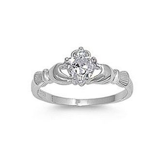 .925 Sterling Silver Claddagh Ring with Clear Cz Heart Stone Size 4,5,6,7,8,9,10,11,12 Comes with Free Gift Box Jewelry
